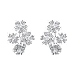 18 Karat White Gold Floral Diamond Earrings