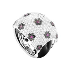 18 Karat White Gold Floral Diamond Pave, Ruby and Onyx Dome Ring