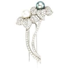 18 Karat White Gold Flower Brooch, South Sea Pearl, Akoya Pearl, Diamonds