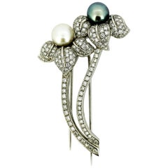 18 Karat White Gold Flower Brooch, South Sea Pearl, Akoya Pearl, Diamonds