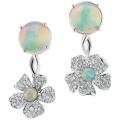 18 Karat White Gold Flower Earring with Opals and Diamonds