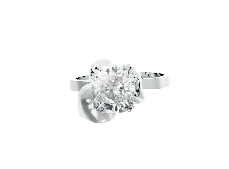 This Flower engagement ring is in 18 karat white gold with GIA certified crushed ice cushion cut diamond. The ring is designed by oil painter and 3D jewellery designer Polya Medvedeva.  The diamond is 1.01 Ct, SI1, F, the certificate is upon