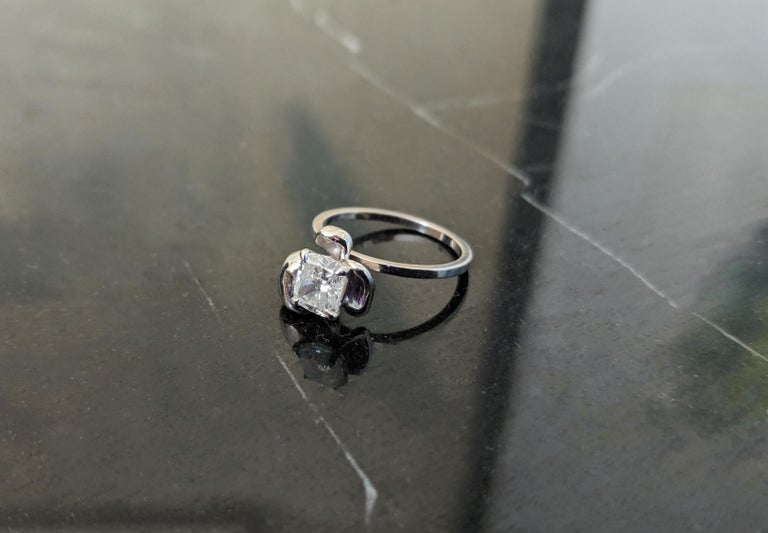 Artist 18 Karat White Gold Flower Engagement Ring with GIA Certified 1.01 Carat Diamond For Sale