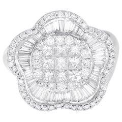 18 Karat White Gold Flower Princess Illusion Diamond Ring