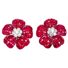 18 Karat White Gold Flower Ruby and Diamond Invisible Earrings