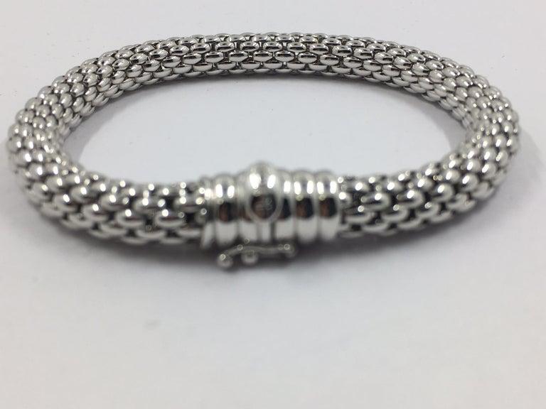 18Kt White Gold Bracelet cylindrical link bracelet Flex'it made in Italy 27.5 grams 11-10399