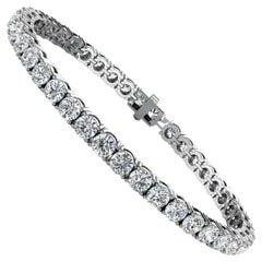 18 Karat White Gold Four Prongs Diamond Tennis Bracelet '10 Carat'