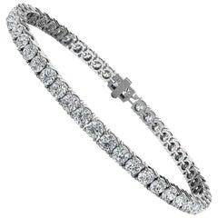 18 Karat White Gold Four Prongs Diamond Tennis Bracelet '7 Carat'