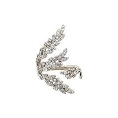 18 Karat White Gold Free Form Diamond Leaf Ring