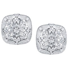 .44 Carat Total Diamond, Florentine, White Gold French Clip Square Earrings