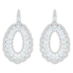 18 Karat White Gold Full Diamond Earrings