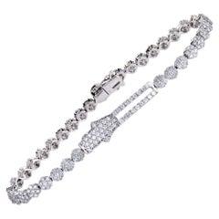 18 Karat White Gold Full Diamond Pave Floral Hamsa Bracelet