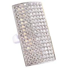 18 Karat White Gold Full Finger Rectangle Pavé Diamond Ring
