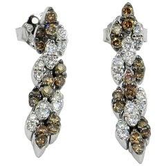 18 Karat White Gold Garavelli Earrings with Brown and White Diamonds