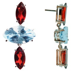 18 Karat White Gold Garnet and Blue Topaz Marquise Earrings.Sustainable Fine Jew