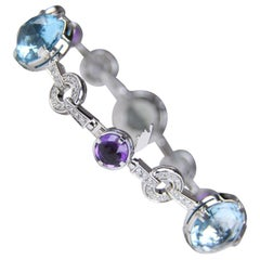 Bulgari White Gold Gemstone and Diamond Bracelet
