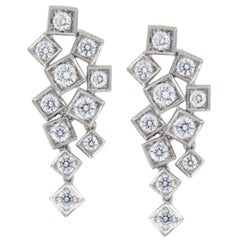 18 Karat White Gold Geometric 0.875 Carat Diamond Dangle Earrings