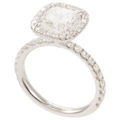 18 Karat White Gold GIA Certified Cushion Cut Diamond Halo Ring 2.83 Carat