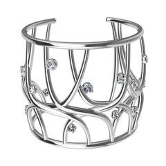 18 Karat White Gold GIA Diamond Cuff Bracelet