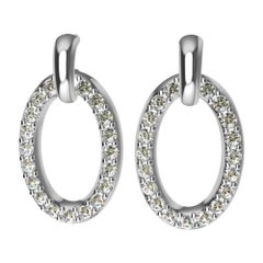 18 Karat White Gold GIA Diamond Dangle Earrings