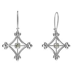 18 Karat White Gold GIA Diamonds Rhombus Flower Dangle Earrings