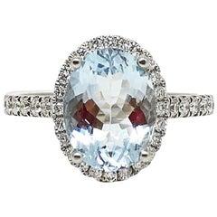 18 Karat White Gold GILIN Aquamarine and Diamond Engagement Ring