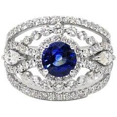 Gold Gilin Blue Sapphire Diamond cocktail+ Ring
