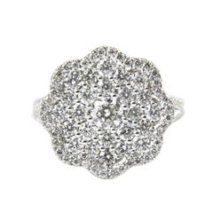 18 Karat White Gold Gilin Cluster Diamond Ring
