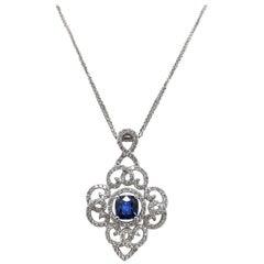 Gilin Blue Sapphire Diamond Pendant
