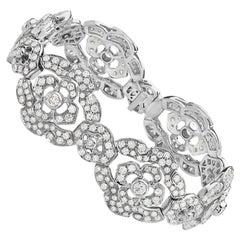 18 Karat White Gold Gold Flower Diamond Bracelet