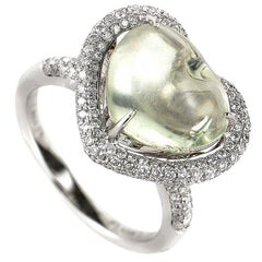 18 Karat White Gold Green Amethyst Heart and Diamond Ring
