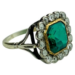 18 Karat White Gold, Green Emerald and Diamond Ring
