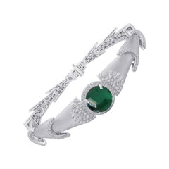 18 Karat White Gold Green Tourmaline and Diamond Bracelet