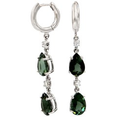 18 Karat White Gold Green Tourmalines and Diamonds Garavelli Long Earrings
