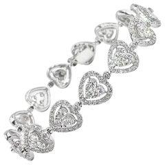 18 Karat White Gold Gregg Ruth Diamond Heart Bracelet