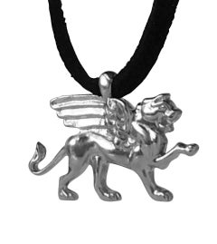 18 Karat White Gold Winged Lion Griffin Pendant Necklace 1 inch wide