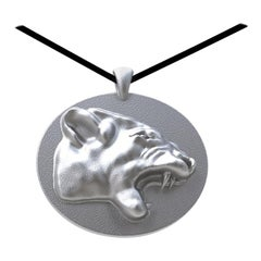 18 Karat White Gold Growler Panther Pendant Necklace