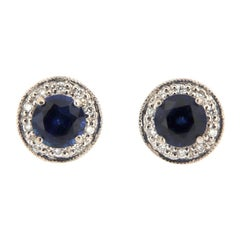 18 Karat White Gold Halo Diamonds and Blue Sapphires Earrings '1 Carat'