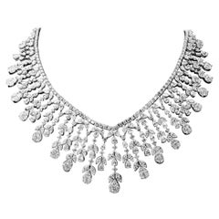 18 Karat White Gold Handcrafted Diamond Bridal Necklace Set