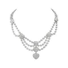 18 Karat White Gold Heart Charm Multi Row Chandelier Necklace