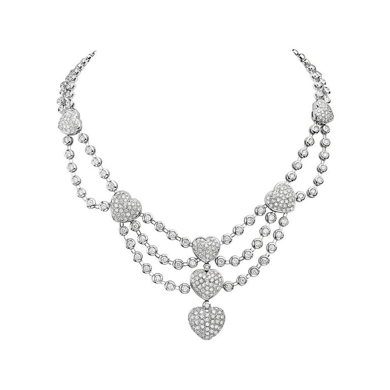 18 Karat White Gold Heart Charm Multi Row Chandelier Necklace For Sale