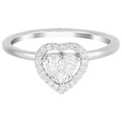18 Karat White Gold Heart Illusion Diamond Wedding Ring