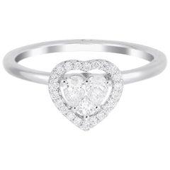 18 Karat White Gold Heart Illusion Diamond Wedding Ring