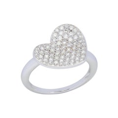 18 Karat White Gold Heart Pave Diamond Ring