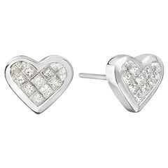 18 Karat White Gold Heart Princess Cut Earrings