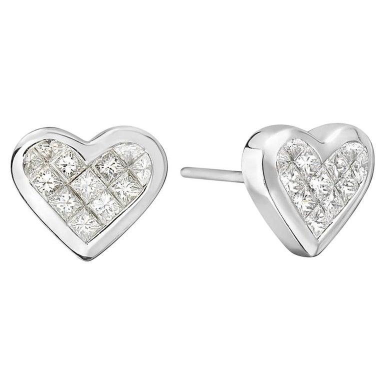 18 Karat White Gold Heart Princess Cut Earrings For Sale