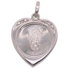 18 Karat White Gold Heart / Religious Pendant with Diamond Accents