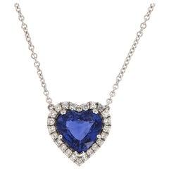 18 Karat White Gold Heart Sapphire and Diamonds Halo Pendant GIA '5 1/2 Carat'