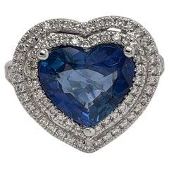 18 Karat White Gold Heart Shape Ceylon Sapphire & Diamond Ring 3.58 Carats