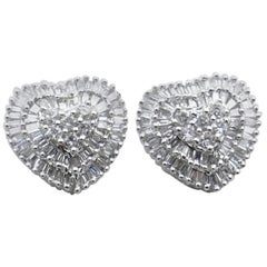 "18 Karat White Gold ""Heart Shape"" Diamond Stud Earrings"
